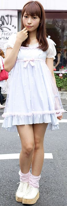 THere's a 19-year-old Japanese girl named Erika who we snapped on the street in Harajuku. She's wearing a cute pastel dress from the fairy kei fashion brand Nile Perch & shoes w/ wooden platforms. Check out all of Erika's pics & info here: http://tokyofashion.com/nile-perch-pastel-dress-ruffle-socks-harajuku/ (Tokyo Fashion. 2012)