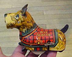 VINTAGE MARX Tin Litho Tin Wind Up WEE SCOTTIE Dog Toy