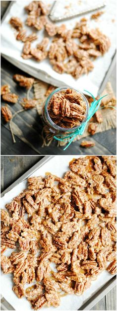 Maple Glazed Pecans are incredibly easy to make and are so delicious on top of ice cream or yogurt, in salads, or on their own!---- is use coconut sugar Appetizer Recipes, Snack Recipes, Dessert Recipes, Cooking Recipes, Appetizers, Just Desserts, Delicious Desserts, Yummy Food, Toffee