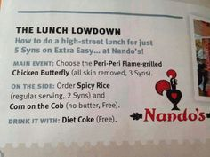 Nando's Slimming World Eating Out, Slimming World Syn Values, Slimming World Tips, Slimming World Snacks, Diet Recipes, Cooking Recipes, Recipies, Syn Free Food, Sliming World