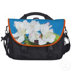 Gorgeous crabapple tree large white blossoms laptop bag.  The flowers are drenched in a dewy mist or raindrops.  Great floral gift for a nature lover.