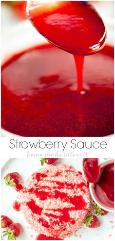 This homemade Strawberry Sauce is light, bright, and bursting with strawberry flavor. This is a strawberry sauce for ice cream, cheesecake, waffles, angel food cake, anything you like! Serve this easy strawberry topping along with an ice cream cake from the grocery store at your next party! AD #strawberry #icecream #dessert #homemadeinterest #IceCreamCakeBreak