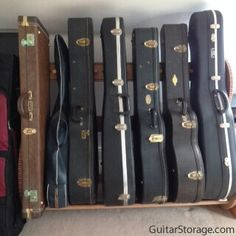 """Here's a customer review for this guitar case storage unit: """"The rack arrived safely and is now happily installed. It was really easy to put together and we are delighted."""" Guitar Storage, Guitar Rack, Storage Systems, Storage Rack, Guitar Collection, Bob Dylan, Musical Instruments, Guitars, Mood"""