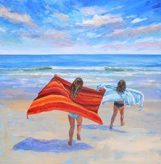 Happy Summer, Gold Coast, The Hamptons, Waves, Ocean, Oil, Fine Art, Artist, Painting
