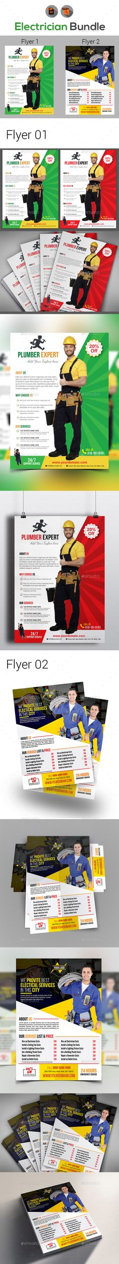 Electrician Flyer Templates Flyer template, Template and Brochures - handyman flyer template