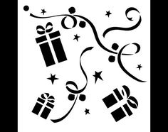 Gifts and Ribbons Christmas Pattern Stencil 6 X 6 por StudioR12