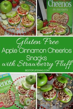Enjoy these fresh Apple Cinnamon Cheerios snacks with strawberry fluff for a tasty gluten free recipe. These are perfect for a fun after school snack for kids and adults will love them, too. #GetOneGiveOne #Cheerios #WithLove #AD @Walmart