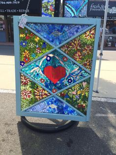 Love Grows Stained glass mosaic window by FlowerFloozyDesigns