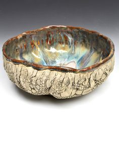 """Lee Wolfe Pottery — Large Urban Rustic hand built bowl in River Journey 10"""""""