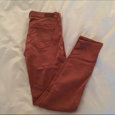 AG Stevie Ankle jeans from Anthropologie AG skinny jeans in Stevie ankle. Gorgeous dusty rust color. 28 inseam. Great overall condition. Very slight piling on thigh AG Adriano Goldschmied Jeans Skinny