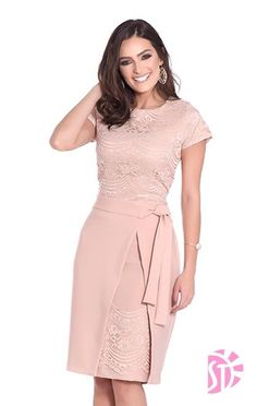 55 Ideas for moda evangelica vestidos executiva Blush Dresses, Elegant Dresses, Pretty Dresses, Beautiful Dresses, Casual Dresses, Short Dresses, Chic Dress, Classy Dress, Lace Dress