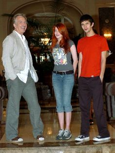 "Actors Alan Rickman, Rachel Hurd-Wood and Ben Whishaw pose during a photocall for their film ""Perfume - The Story of a Murderer"" in Barcelona. August 29, 2005"