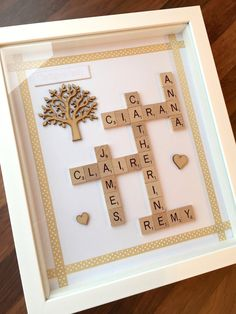 Family Tree Frame  Gold & Tree Design  Personalised Scrabble