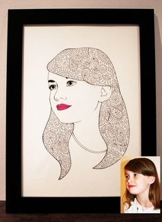 Framed, beautifully hand drawn personalised portrait with unique personal doodled details chosen by you by jakswhalenportraits on Etsy