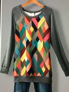 Padded Diamond SublimationFrench Terry Sweatshirt. Diamond Pattern on Front and Back. Fits True to Size. I'm 5'10', 145 Pounds and Wear a Medium. 85% Poly, 10% Spandex, 5% Rayon    Sm. 4/6 Med. 8/10 Large 12/14 | Shop this product here: http://spreesy.com/camdencreekboutique/2 | Shop all of our products at http://spreesy.com/camdencreekboutique    | Pinterest selling powered by Spreesy.com