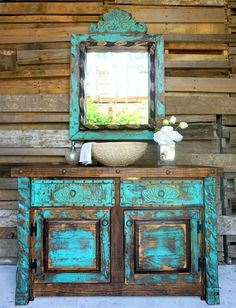 Shabby turquoise bathroom vanity with a bold worn look - chalk paint - Bathroom Decor Distressed Furniture, Repurposed Furniture, Shabby Chic Furniture, Rustic Furniture, Antique Furniture, Outdoor Furniture, Western Furniture, French Furniture, Handmade Furniture