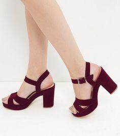 Dark Red Suedette Ankle Strap Heels  | New Look