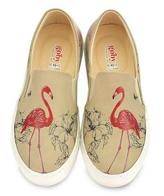 Another great find on #zulily! Beige & Pink Flamingo Slip-On Sneaker #zulilyfinds