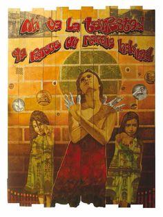 Autor: Alex Cuchilla // El Salvador // Tu ángel de fuego // Pistola industrial de calor, pirograbado, lápiz de color, grafito y óleo/madera.