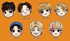 Chibi Just Right Sketches by xxxRinRulesxxx Youngjae, Yugyeom, Jaebum Got7, Cute Cartoon Drawings, Kpop Drawings, Got7 Fanart, Kpop Fanart, Jinyoung, I Like You Got7