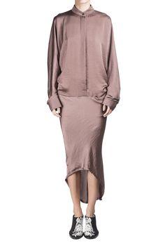 Haider Ackermann Dusk Rose Long Sleeve Dress  #Shopafar #HaiderAckermann #luxury #fashion #ss15 #silk #AnnDemeulemeester #heels #lace #blush #rose