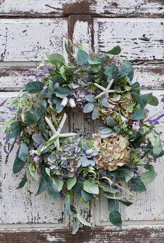 Nautical Wreath Coastal Wreath Beach Wreath Coastal Decor | Etsy Coastal Wreath, Nautical Wreath, Coastal Decor, Greenery Wreath, Grapevine Wreath, Floral Wreath, Green Hydrangea, Cream Flowers, Spring Home Decor