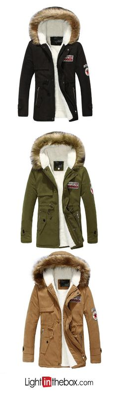 Men's Padded Coat,Simple Casual/Daily Print-Others Cotton Long Sleeves