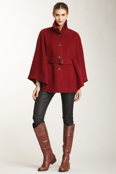 Cole Haan Wool Button Front Cape