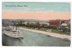Paddle Steamer Riverside Park Winona Minnesota 1910c Postcard   eBay