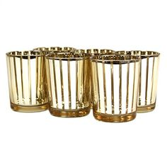 Koyal Wholesale 424478 Striped Votive Candle Holder, Gold - 2.25 in. *** Once in a lifetime offer : Candles Holders Decor