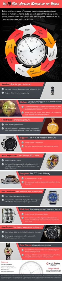 The 10 Most Amazing Watches of the World #infographic #Watches #LifeStyle #infografía