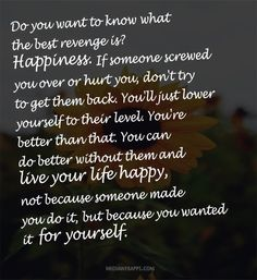 Do you want to know what  the best revenge is?  Happiness.