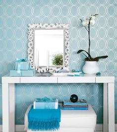 tiffany blue wall paper maybe too cold feeling - Tiffany Blue Room Decor