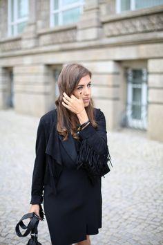 BLACK FRINGE JACKET | Fiona from thedashingrider.com wears Edited Jacket, Mango Dress, Chloe Susanna Boots and a bag from Iro. #ootd #whatiwore