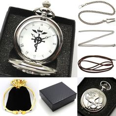 Inspired by Edward Elric / Fullmetal Alchemist, this silver pocket watch chain necklace features symbols and icons as seen in the Fullmetal Alchemist anime and manga. Wrapped in an exquisite gift box,