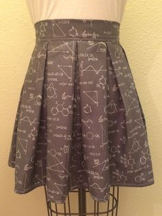 Grey Math and Science Printed Adult High Waisted Skater Skirts