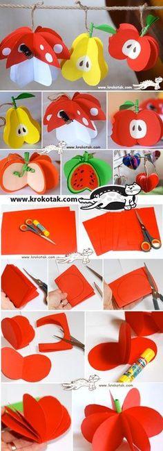 Frutas de papel para decoración de fiestas temáticas de verano o hawaianas. #ManualidadesParaFiestas