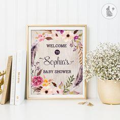 Böhmische Baby Dusche Willkommens-Schild. von BlueBunnyPrintables