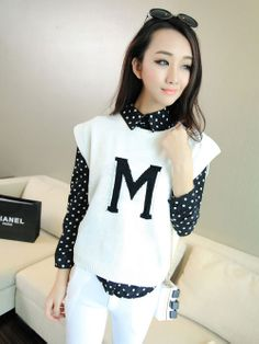 Stylish Round Collar Letter Printed Solid Color Pullover Sweater