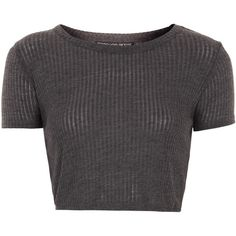 TOPSHOP Petite Skinny Rib Crop Tee (60565 PYG) ❤ liked on Polyvore featuring tops, t-shirts, shirts, crop tops, grey, petite, tee-shirt, grey t shirt, petite shirts and crop top