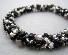 Beaded Bangle Bracelet  Black and Silver by by randomcreative, $35.00