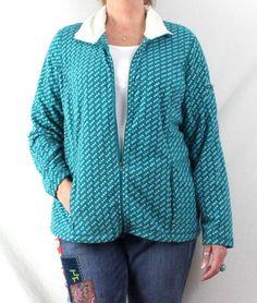 LL Bean XL size Fleece Zip Jacket Blue Green Ivory Lightweight Outdoors Womens