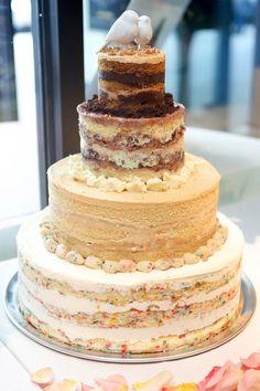 multi flavor naked wedding cake   ~  we ❤ this! moncheribridals.com #nakedweddingcake
