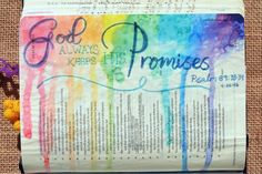 Psalm 89:33-34, April 26, 2016, carol@belleauway.com, Recollections watercolor brush markers, Spray bottle, page prepped with Liquitex matte gel medium, bible art journaling, bible journaling, illustrated faith