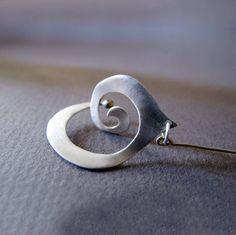 3-dimensional Spiral Dangle Silver Earrings by Jewellietta on Etsy