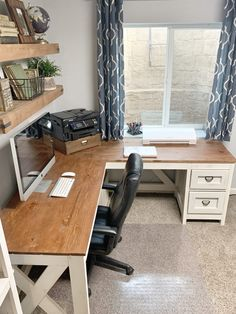 Ikea Corner Desk, L Shaped Corner Desk, Ikea T Shaped Desk, Wooden Corner Desk, Diy Wooden Desk, Home Office Setup, Home Office Desks, Basement Office, Dyi Office Desk