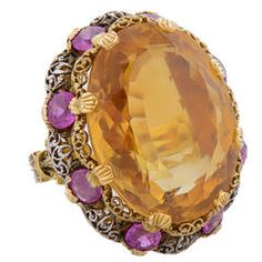 Buccellati Two-Colour Citrine Pink Sapphire Gold Cocktail Ring | From a unique collection of vintage cocktail rings at https://www.1stdibs.com/jewelry/rings/cocktail-rings/