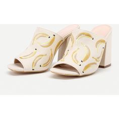 Banana Embroidery Peep Toe Heeled Mules ❤ liked on Polyvore featuring shoes, embroidered shoes, peep toe mules shoes, mule shoes, peep toe mules and peep toe shoes
