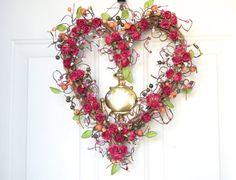 Valentine Heart  wreath -  pink roses - Valentines Day front door decor - year round decoration