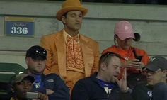 A Brewers' fan paying homage to Dumb and Dumber with a luxurious orange suit. #Brewers #baseball #suit